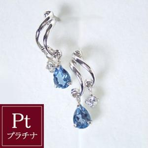 ロンドンブルートパーズ ホワイトサファイア ピアス プラチナ 3営業日前後の発送予定|venusjewelry