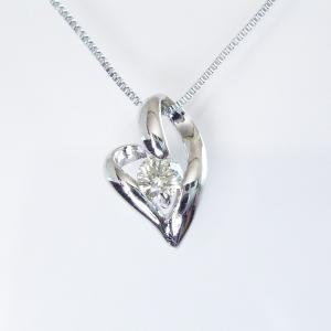 プラチナ ダイヤモンド ネックレス 一粒 ダイヤモンドネックレス ハート オープンハート 3営業日前後の発送予定|venusjewelry|03