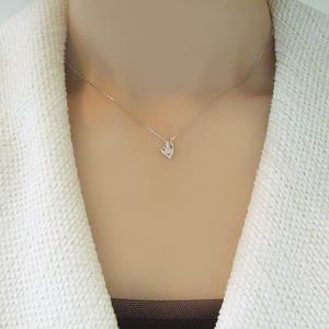 プラチナ ダイヤモンド ネックレス 一粒 ダイヤモンドネックレス ハート オープンハート 3営業日前後の発送予定|venusjewelry|04