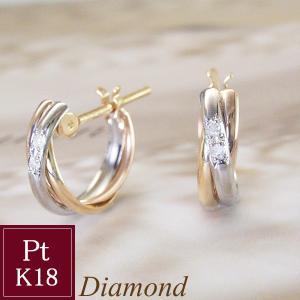 ダイヤモンド トリニティ ピアス プラチナ900 K18ピンクゴールド K18ゴールド 3営業日前後の発送予定|venusjewelry