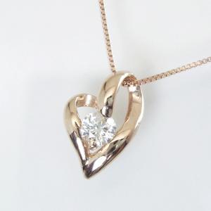 K18ピンクゴールド ダイヤモンド ネックレス 妻 彼女 一粒 オープンハート 18金ネックレス 3営業日前後の発送予定|venusjewelry|02