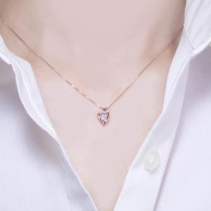 K18ピンクゴールド ダイヤモンド ネックレス 妻 彼女 一粒 オープンハート 18金ネックレス 3営業日前後の発送予定|venusjewelry|03