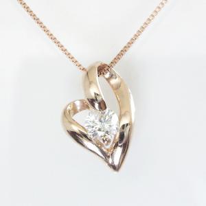 K18ピンクゴールド ダイヤモンド ネックレス 妻 彼女 一粒 オープンハート 18金ネックレス 3営業日前後の発送予定|venusjewelry|04