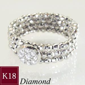 天然 ダイヤモンド K18WG リング 指輪 フリーサイズ レディースリング 3営業日前後の発送予定|venusjewelry