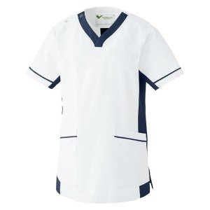 ミドリ安全 ベルデクセル スクラブ ホワイト×ネイビー (SS〜4L) 男女兼用 VEM77上 白衣 メンズ レディース おしゃれ 医療 衛生 手術衣・オペ着|verdexcel-medical
