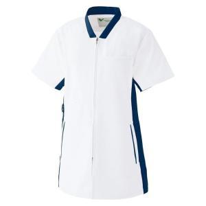 ミドリ安全 ベルデクセル スクラブ ホワイト×ネイビー (SS〜4L) 男女兼用 VEM87上 白衣 メンズ レディース おしゃれ 医療 衛生 手術衣・オペ着|verdexcel-medical