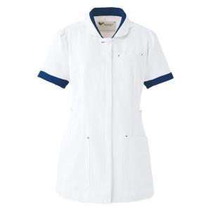 ミドリ安全 ベルデクセル チュニック ホワイト×ネイビー (S〜4L) VEM97上  ナース 制服 白衣 医療 衛生 作業着|verdexcel-medical
