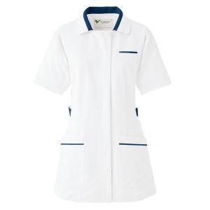 ミドリ安全 ベルデクセル チュニック ホワイト×ネイビー (S〜4L) VEM117上  ナース 制服 白衣 医療 衛生 作業着|verdexcel-medical