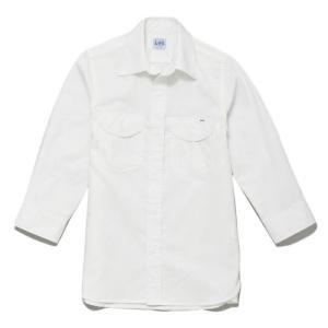Lee リー 作業服 男性用 ストレッチシャンブレー七分袖シャツ ホワイト LCS46004-15 メンズ 作業着 BONMAX ボンマックス|verdexcel-medical