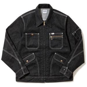 Lee リー 作業服 男性用 メンズ ジップアップジャケット LWB06001-16 ブラック デニム 作業着 BONMAX ボンマックス|verdexcel-medical
