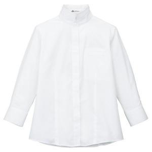 2Wayスタンドカラー七分袖 ブラウス FB4003L-15 ホワイト レディス BONMAX ボンマックス オフィスウェア 事務服 通勤服|verdexcel-medical