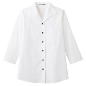 イタリアンカラー 七分袖ブラウス FB4027L-15 ホワイト レディス BONMAX ボンマックス オフィスウェア 事務服 通勤服|verdexcel-medical