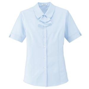 Rizal 半袖ブラウス RB4549-6 ブルー 吸水・速乾 UVカット BONMAX ボンマックス オフィスウェア 事務服 制服 通勤服|verdexcel-medical