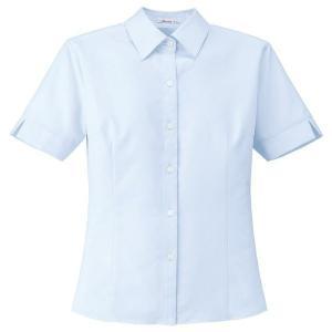 Rizal 半袖ブラウス RB4551-6 ブルー 抗菌・防臭 UVカット ニット BONMAX ボンマックス オフィスウェア 事務服 制服 通勤服|verdexcel-medical