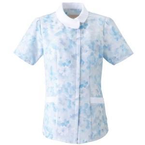 レディース ジップチュニック(花柄) 2144-2 ブルー 医療 衛生 作業着・服 手術衣・オペ着|verdexcel-medical