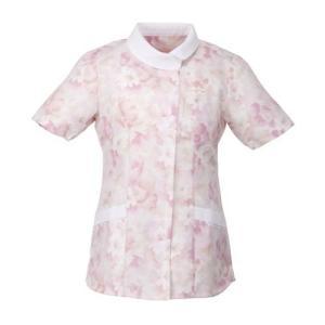 レディース ジップチュニック(花柄) 2144-3 ピンク 医療 衛生 作業着・服 手術衣・オペ着 verdexcel-medical