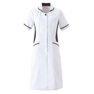 ナースウェア 半袖ワンピース 3017EW-7 ホワイト×ネイビー 白衣 医療 衛生 作業着・服|verdexcel-medical