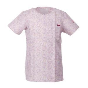 FOLK レディース ジップスクラブ(小花柄) 7020SC-3 ピンク フォーク 医療 衛生 作業着・服 手術衣・オペ着|verdexcel-medical