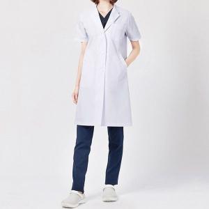 ドクターウェア 女子半袖診察衣シングル 2532PO-1 ホワイト 白衣 レディース 医療 衛生 作業着・服|verdexcel-medical