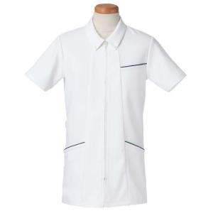 半袖ナースジャケット ボタンダウン R8493-10 メンズ ネイビー (S〜4L) 白衣 医療 衛生 メディカルウェア|verdexcel-medical
