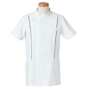 半袖ケーシージャケット スタンドカラー R8494-10 メンズ ネイビー (S〜4L) 白衣 医療 衛生 メディカルウェア|verdexcel-medical