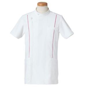 半袖ケーシージャケット スタンドカラー R8494-23 メンズ マゼンタ (S〜4L) 白衣 医療 衛生 メディカルウェア|verdexcel-medical
