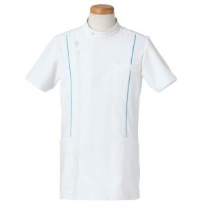 半袖ケーシージャケット スタンドカラー R8494-31 メンズ ターコイズ (S〜4L) 白衣 医療 衛生 メディカルウェア|verdexcel-medical