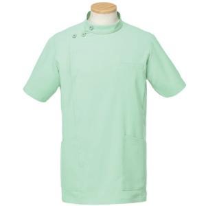 メディカルウェア 半袖ケーシージャケット メンズ グリーン (S〜4L) R8796-15 白衣 医療 衛生 作業着 服|verdexcel-medical