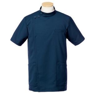 メディカルウェア 半袖ケーシージャケット メンズ ダークネイビー (S〜4L) R8796-30 白衣 医療 衛生 作業着 服|verdexcel-medical