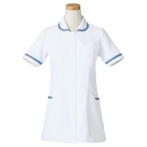 半袖ナースジャケット R8640-11 レディス ブルー (S〜4L) 白衣 医療 衛生 メディカルウェア|verdexcel-medical