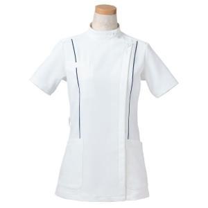 半袖ケーシージャケット スタンドカラー R8444-10 レディース ネイビー (S〜4L) 白衣 医療 衛生 メディカルウェア|verdexcel-medical