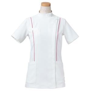 半袖ケーシージャケット スタンドカラー R8444-23 レディース マゼンタ (S〜4L) 白衣 医療 衛生 メディカルウェア|verdexcel-medical