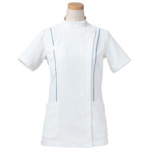 半袖ケーシージャケット スタンドカラー R8444-31 レディース ターコイズ (S〜4L) 白衣 医療 衛生 メディカルウェア|verdexcel-medical