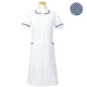 メディカルウェア 半袖ナースワンピース レディース ネイビー (S〜4L) R4745-10 白衣 医療 衛生 作業着 服|verdexcel-medical
