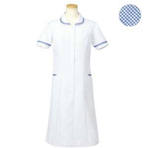 メディカルウェア 半袖ナースワンピース レディース ブルー (S〜4L) R4745-11 白衣 医療 衛生 作業着 服|verdexcel-medical