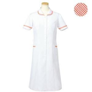 メディカルウェア 半袖ナースワンピース レディース オレンジ (S〜4L) R4745-14 白衣 医療 衛生 作業着 服|verdexcel-medical