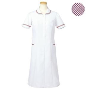 メディカルウェア 半袖ナースワンピース レディース ワイン (S〜4L) R4745-33 白衣 医療 衛生 作業着 服|verdexcel-medical