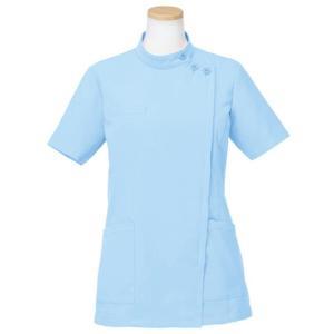 メディカルウェア 半袖ケーシージャケット レディース ブルー (S〜4L) R8746-11 白衣 医療 衛生 作業着 服|verdexcel-medical