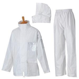 レインウェア ワークレイン M-3500 ホワイト 4L メンズ コヤナギ/雨具/レインウェア/カッパ|verdexcel-medical