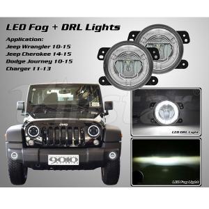 LED リング付 フォグランプ 11y- ジープ ラングラー JK グランドチェロキー ダッジ チャージャー|verger-autoparts