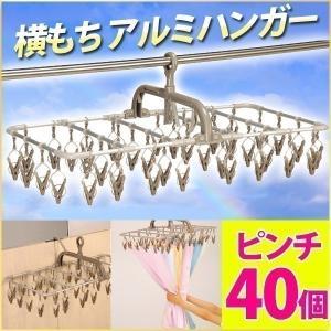 ピンチハンガー 洗濯物干し 引っ張る アルミ 角型 アイデア 横もち 40 コンパクト ハンガー TA-11 40ピンチ フック付き 洗濯ばさみ 便利 機能性 物干しハンガー
