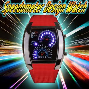 スピードメーター 腕時計 スピードメーター時計 レッド LED腕時計 デジタルウォッチ デジタル表示 LEDデジタル腕時計 メンズ メンズ用腕時計