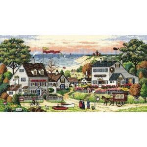 """ディメンジョンズ クロスステッチ 刺繍キット""""海辺の町""""  verticalimport"""