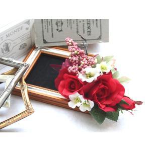 クレセット調の赤バラのコサージュ vertpalette-store