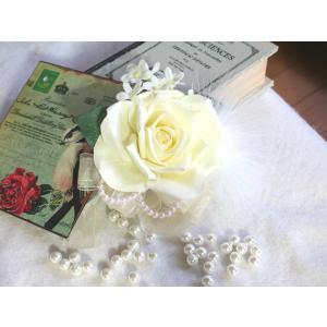 白バラとファーのコサージュ vertpalette-store