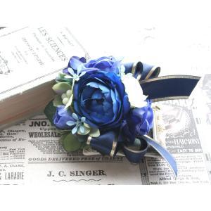 ブルー系を集めたバラのコサージュ vertpalette-store