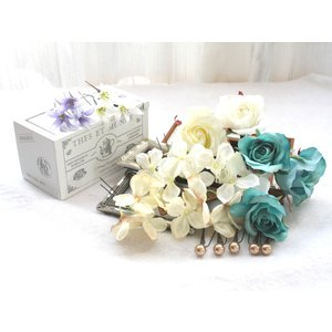 ターコイズバラと白小花のパーツ髪飾り:HA001|vertpalette-store