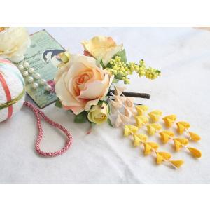 パステルカラーのバラとちりめん下がりの髪飾り:HA002|vertpalette-store