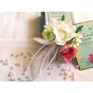 バラと揺れるパールの髪飾り:HA003|vertpalette-store
