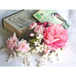 ピオニーと桜のパーツセットの髪飾り:HA007|vertpalette-store